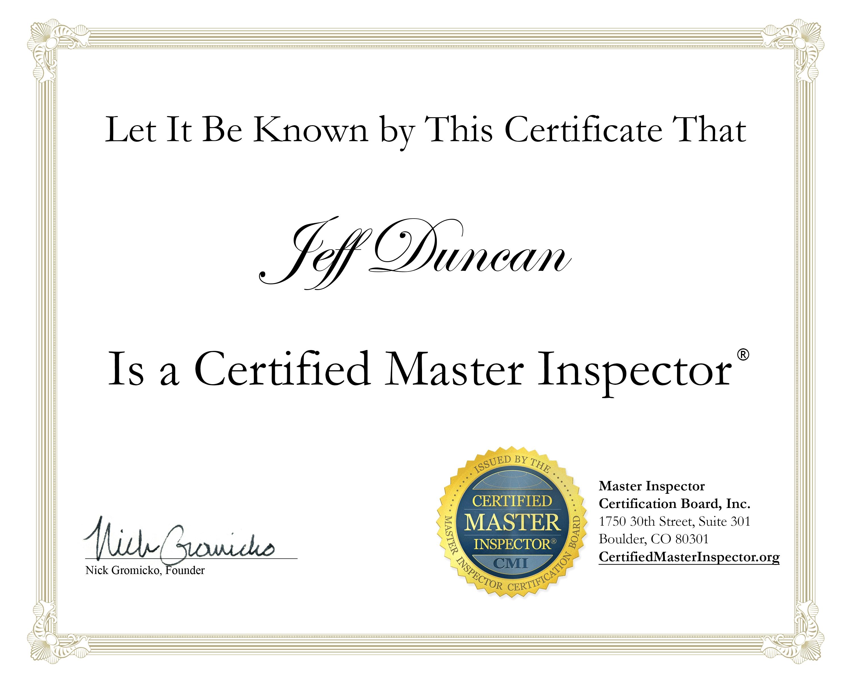 jeff duncan certified master inspector