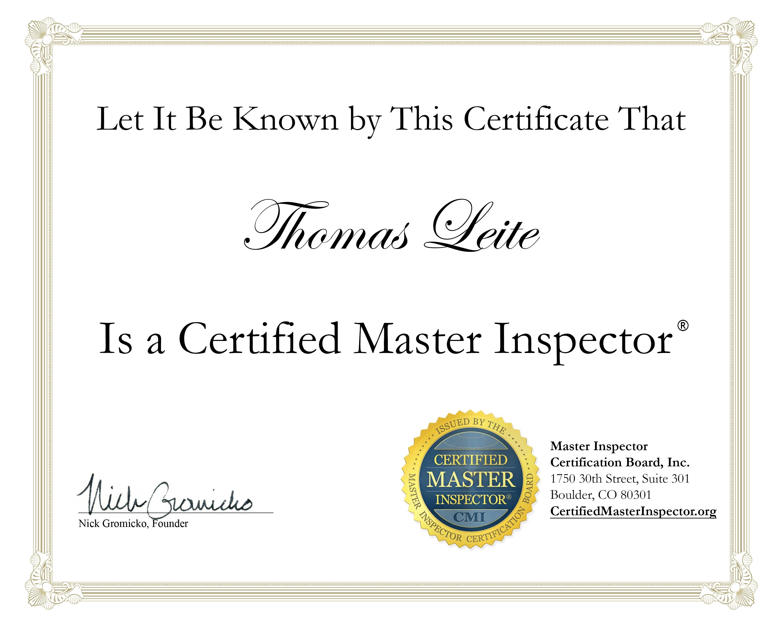 tom leite certified master inspector